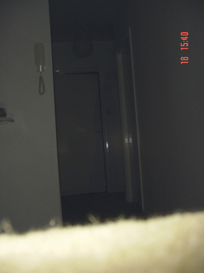 A ghostly shadow at the rear of the hallway
